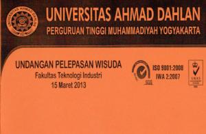 undangan pelepasan wisudawan FTI periode Maret 2013